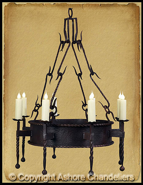 Ashore chandeliers handforged iron chandeliers ch 1019 single tier lodge chandelier aloadofball Images